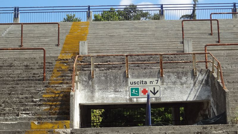 The pitch may be in good condition, but the stands show the signs of time.