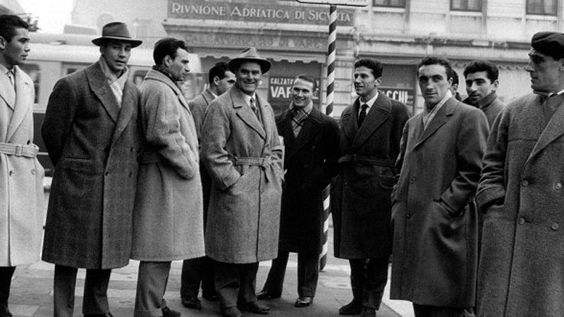 Nereo Rocco (center) spent almost a decade in Padova from 1954-1961