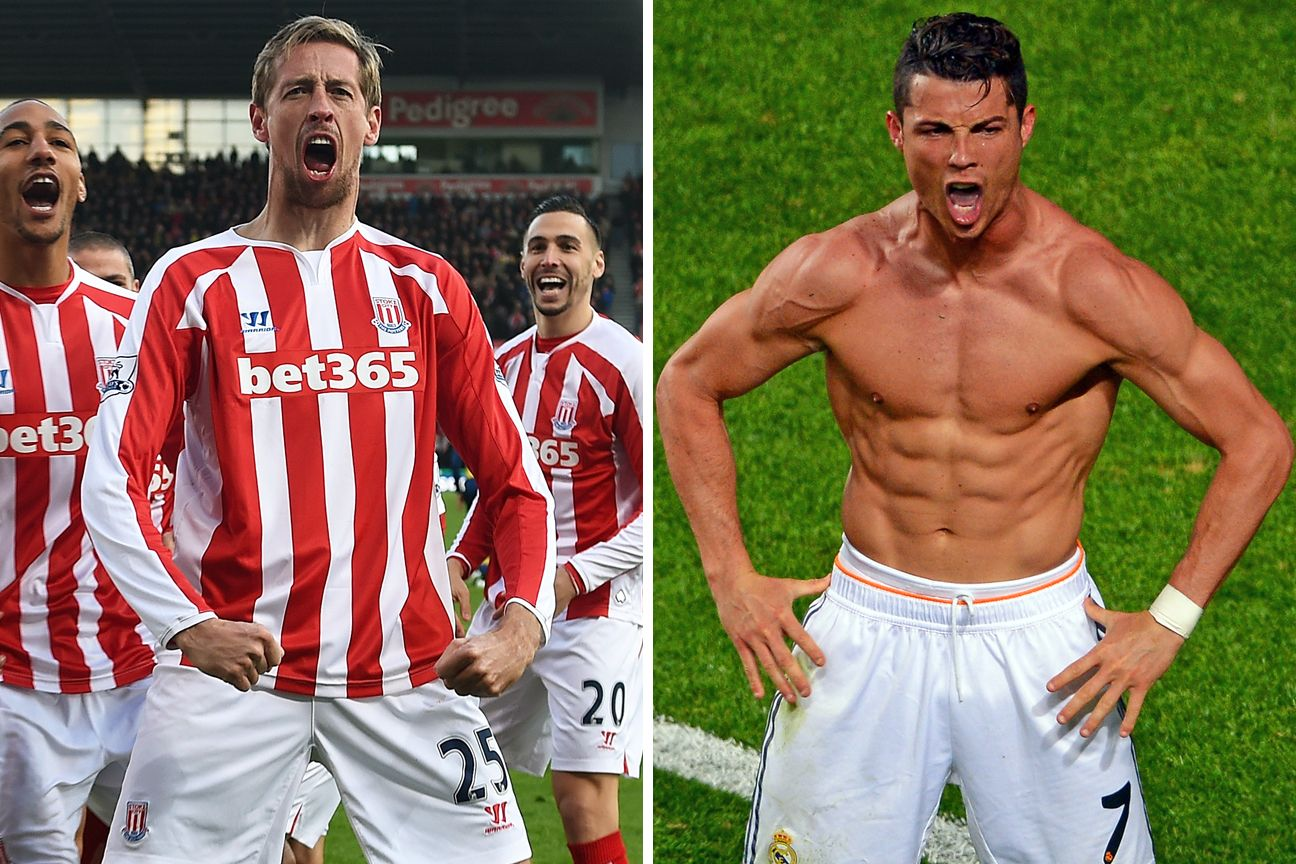 Peter Crouch and Cristiano Ronaldo.