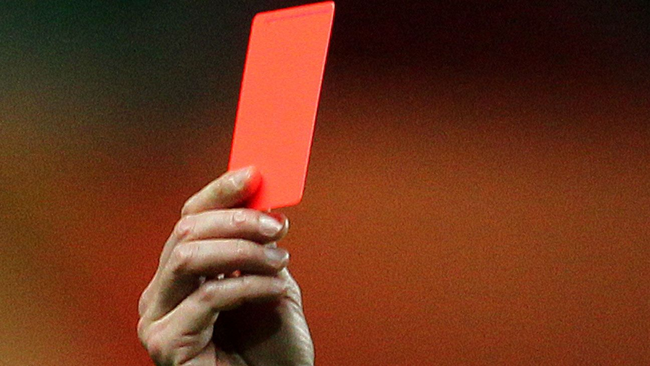 Generic red card referee sending off