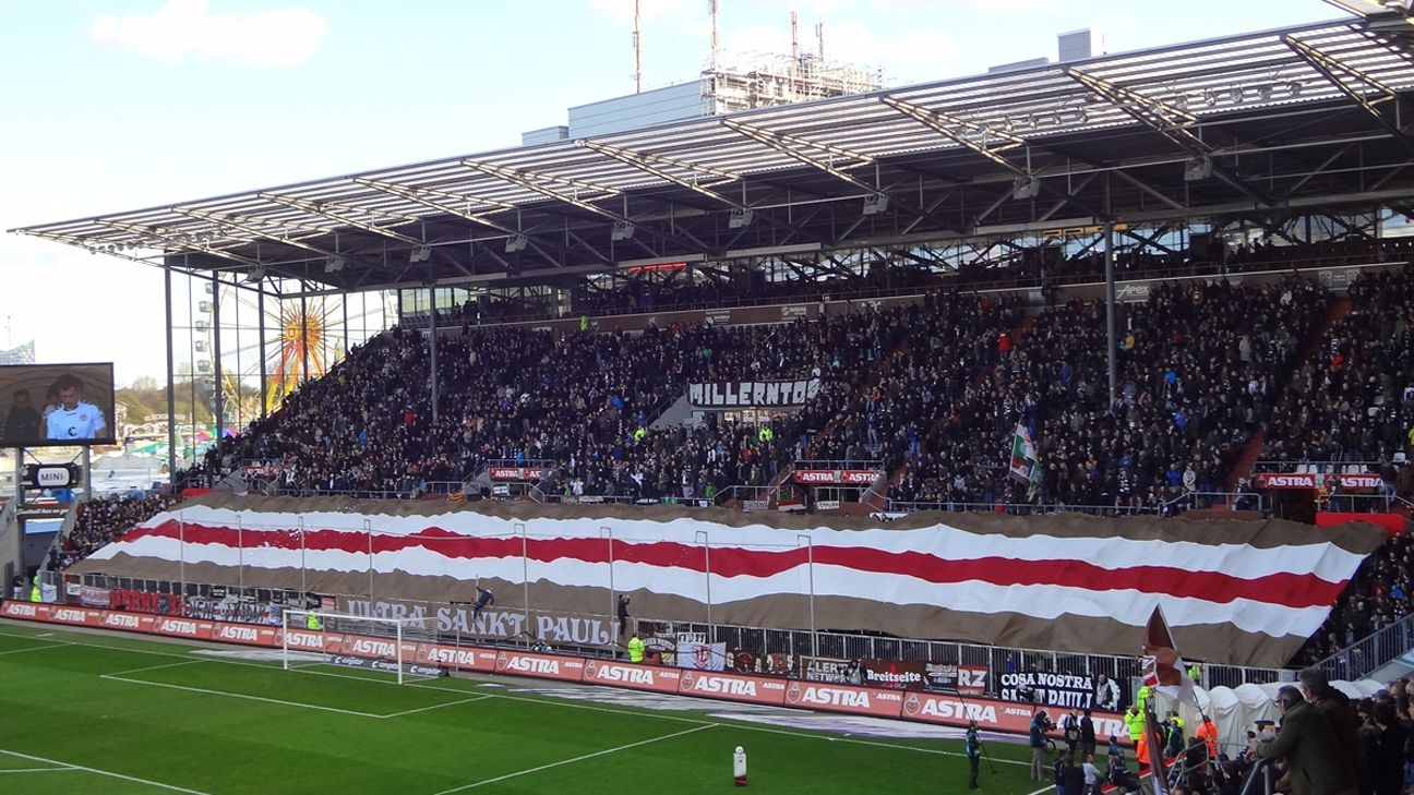 The St. Pauli South Stand in full voice.