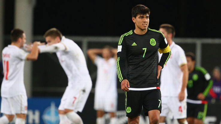 Erick Gutierrez of Mexico looks dejected