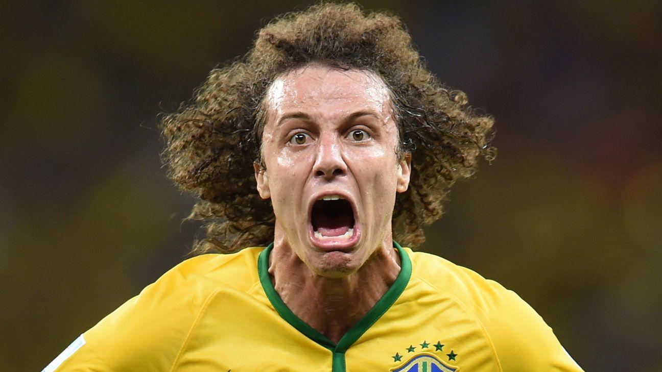David Luiz wide eyed celebration angry World Cup 2014 Brazil