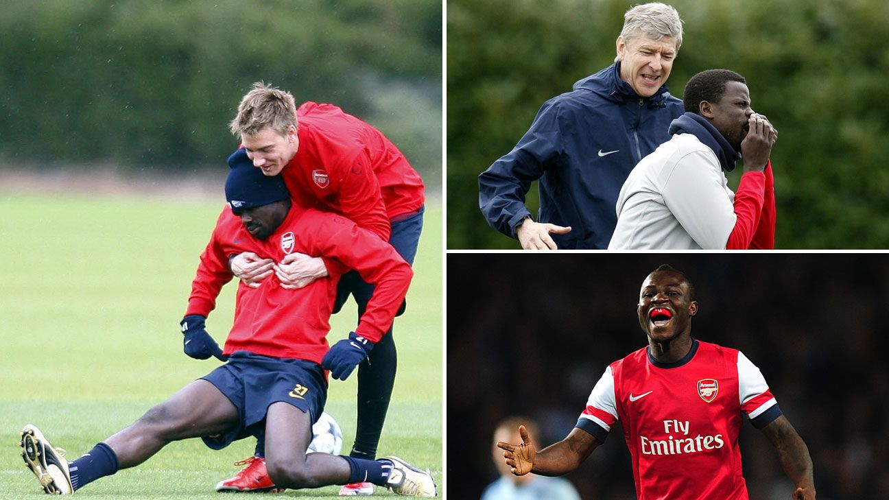 Eboue Emmanuel Nicklas Bendtner Arsenal training
