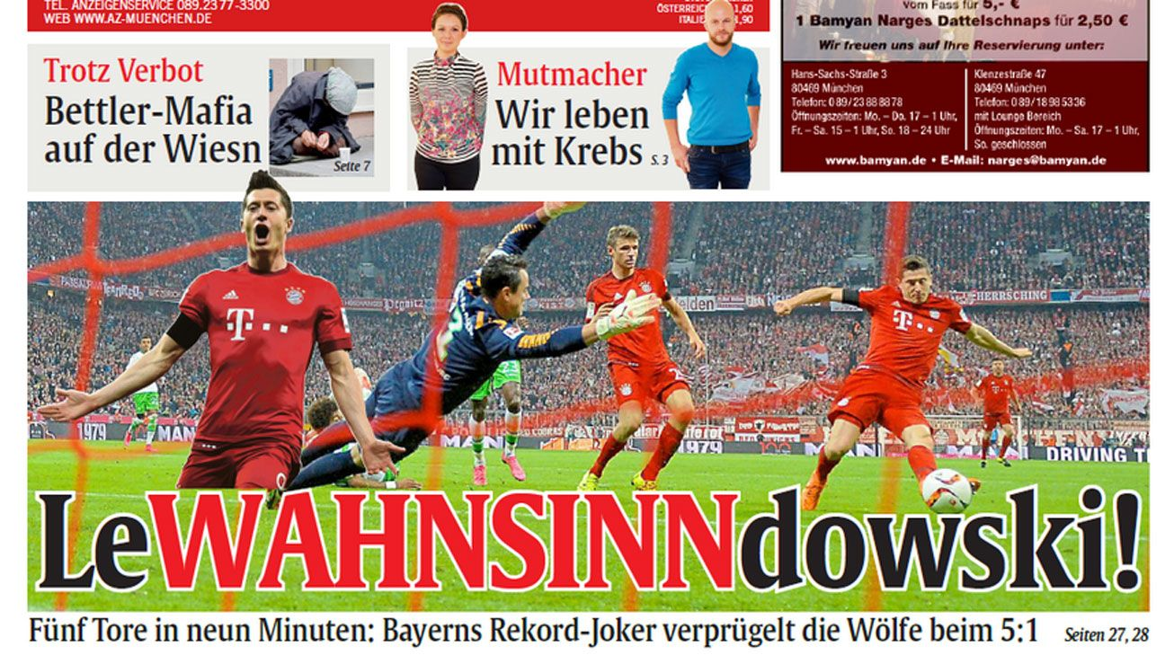 Robert Lewandowski back page newspaper