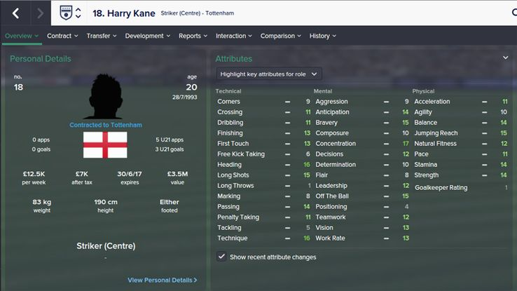 Harry Kane Football Manager stats