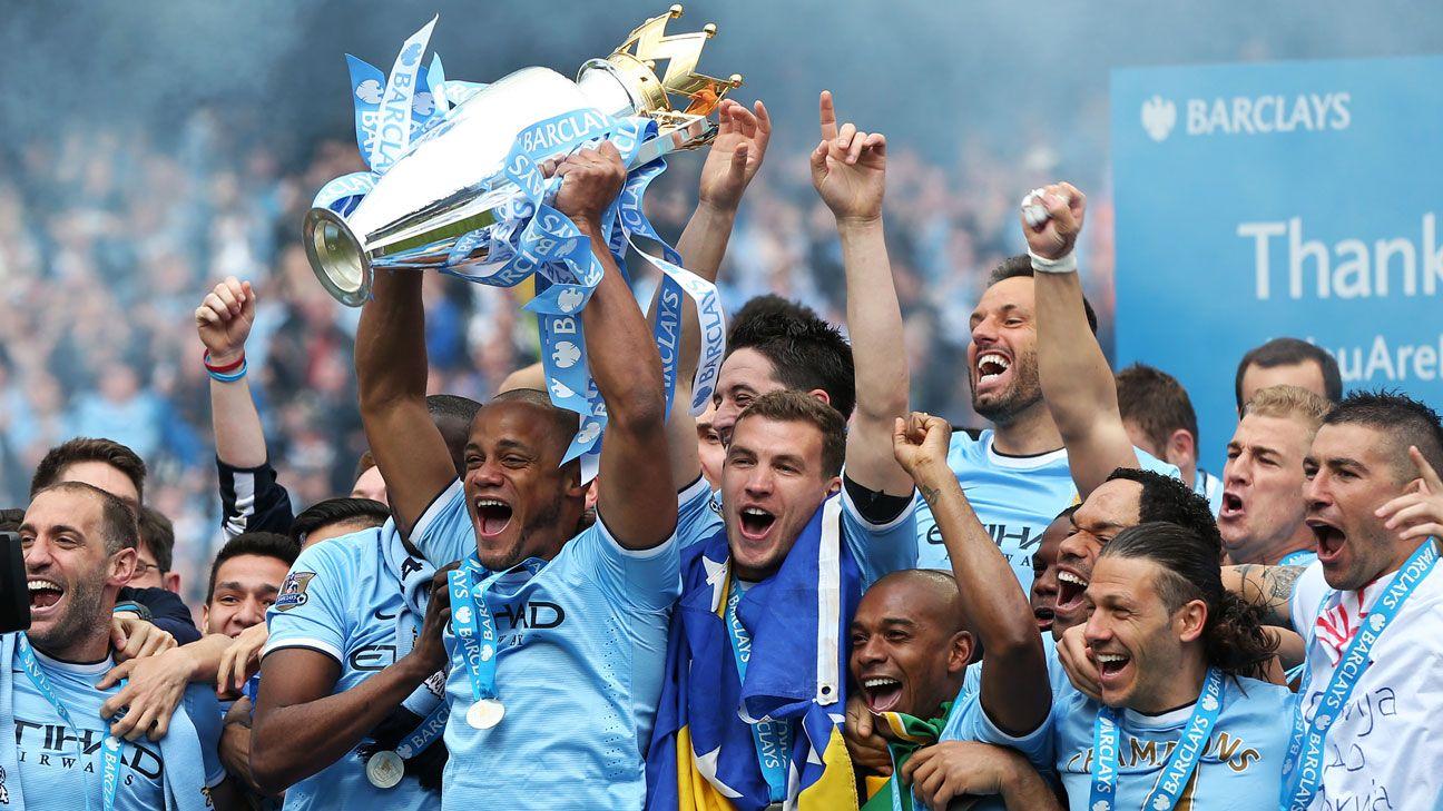 2014 Premier League trophy title lift Manchester City