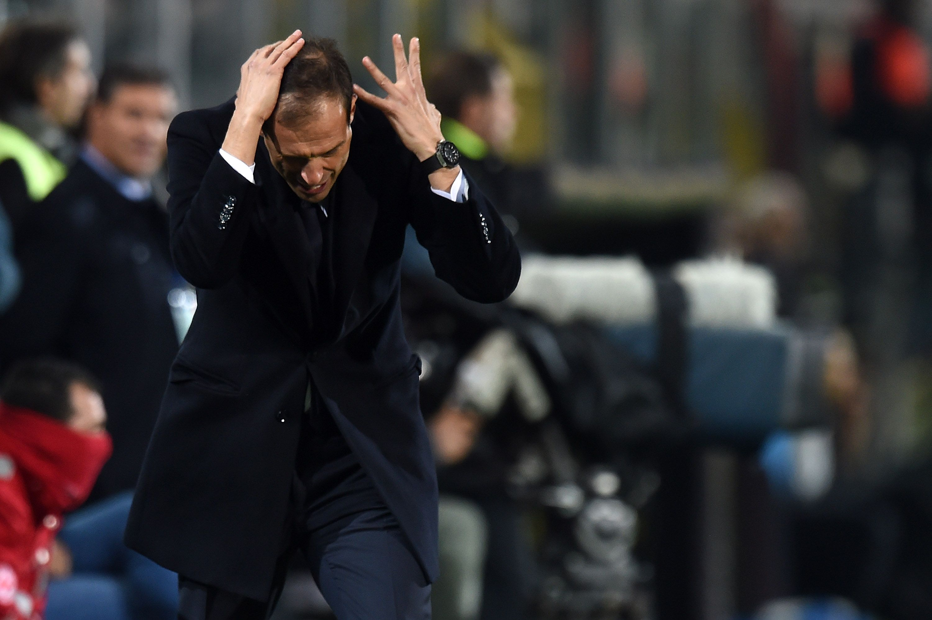 Juventus manager Massimiliano Allegri reacts during the Serie A match between Palermo and Juventus at Stadio Renzo Barbera on November 29, 2015 in Palermo, Italy. (Tullio M. Puglia/Getty Images)
