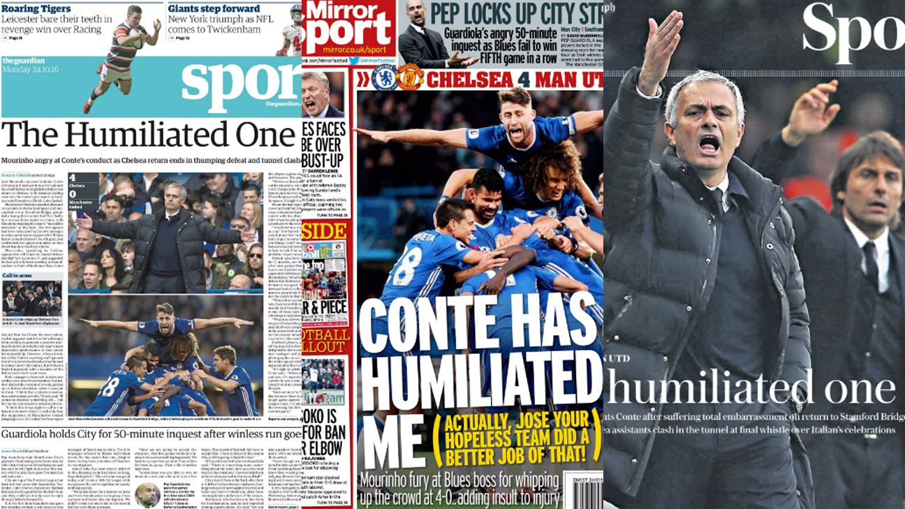 Jose Mourinho newspaper split