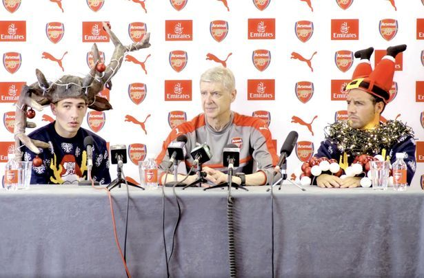 Arsenal's Arsene Wenger, Hector Bellerin, Santi Cazorla stage spoof news conference