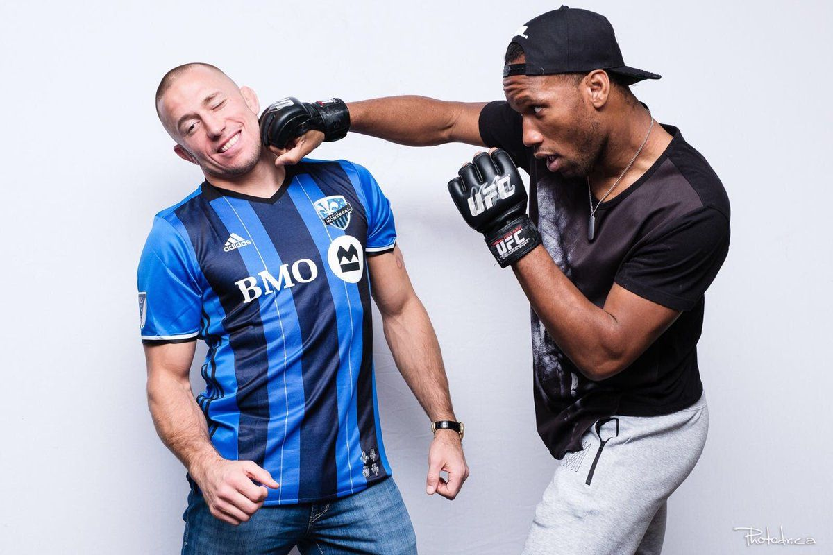 Didier Drogba with UFC star Georges St-Pierre