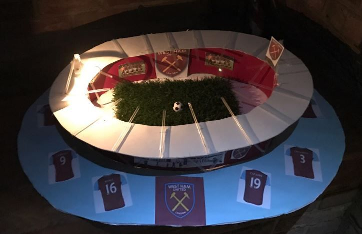 Mark Noble's son's model of West Ham's London Stadium
