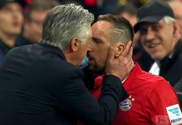 Carlo Ancelotti kisses Franck Ribery