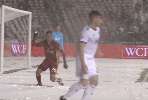 Real Salt Lake's Luis Silva throws snowball