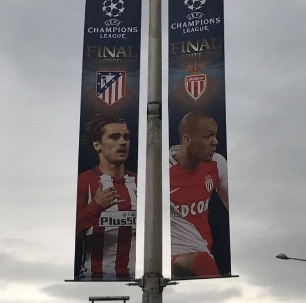 Atletico Madrid and Monaco banners in Cardiff for Champions League final