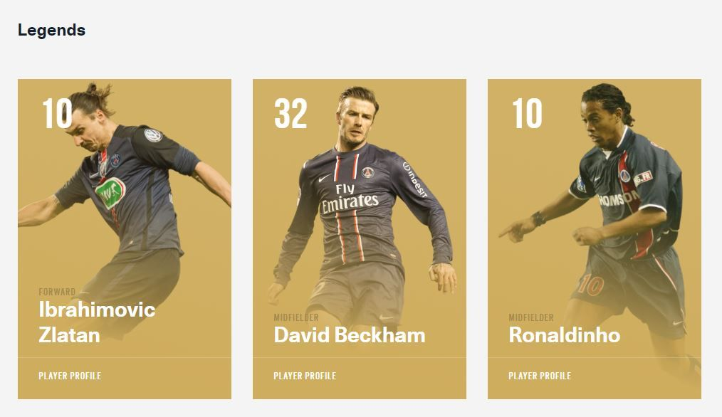 David Beckham stands alongside Zlatan Ibrahimovic and Ronaldinho in PSG's hall of fame