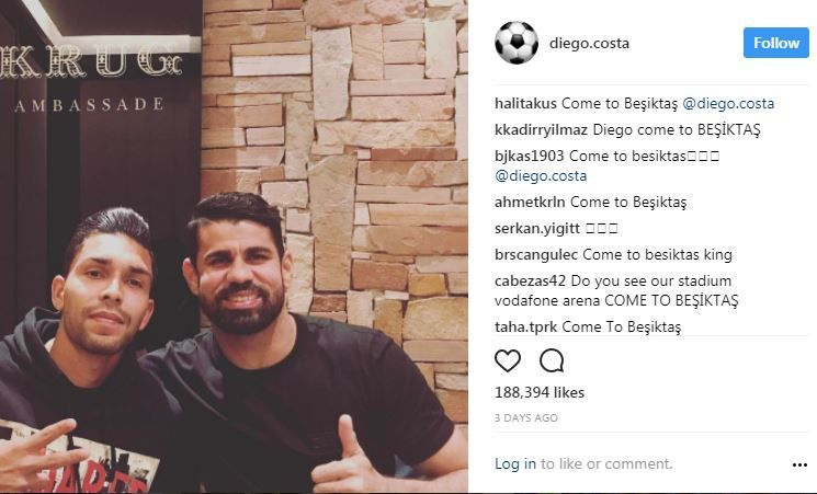Diego Costa's Instagram post was swamped by Besiktas fans urging him to join join the club