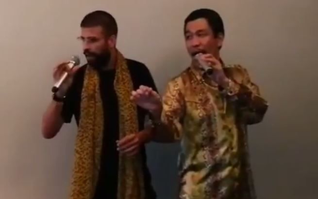 Barcelona's Gerard Pique duets with Pikotaro on 'Pen-Pineapple-Apple-Pen'