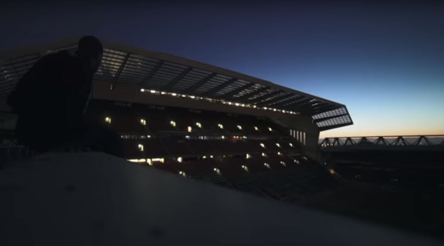 YouTuber CassOnline filmed the view from the Anfield roof after sneaking into Liverpool's stadium