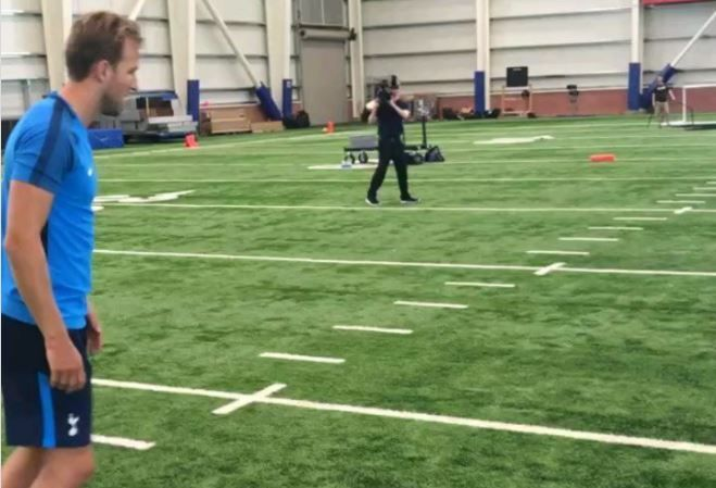 Harry Kane kicks a field goal at New York Giants' Quest training facility