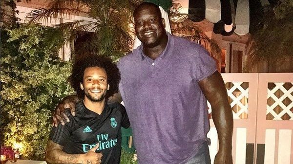 Real Madrid's Marcelo meets Shaquille O'Neal