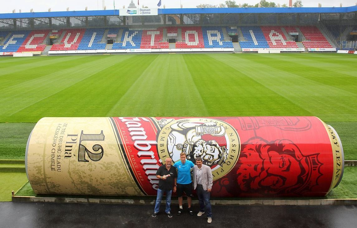 Viktoria Plzen install new dugouts shaped like giants cans of beer