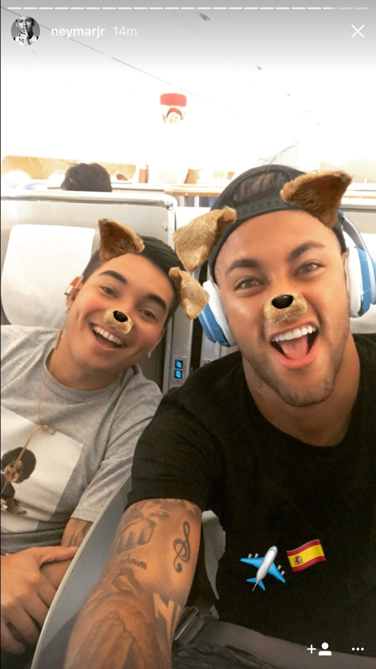 Neymar posted a photo on his Instagram story of him apparently on a plane back to Spain