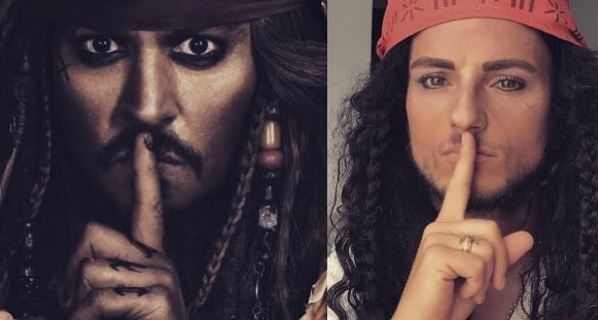 Which top European football star is decked out like Captain Jack Sparrow