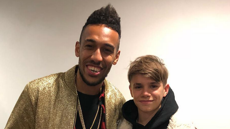 Pierre-Emerick Aubameyang and Romeo Beckham