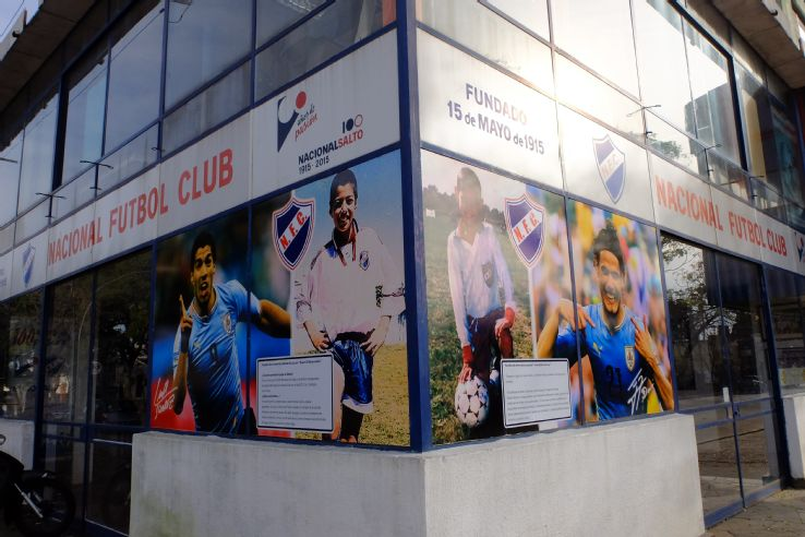 Luis Suarez and Edinson Cavani feature on the front of a Salto store.