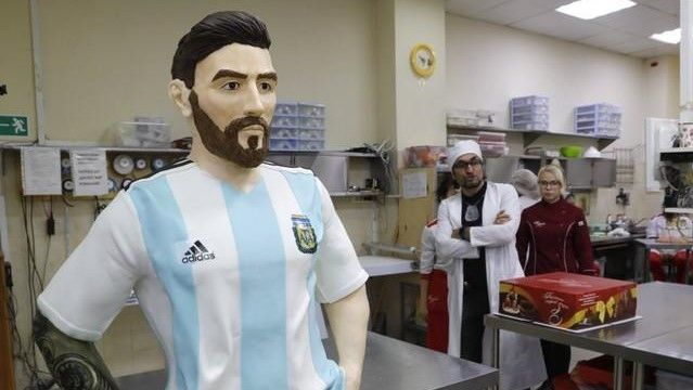 A life-size chocolate sculpture of Lionel Messi
