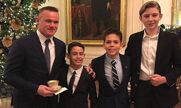 Wayne Rooney was pictured with Barron Trump (right)