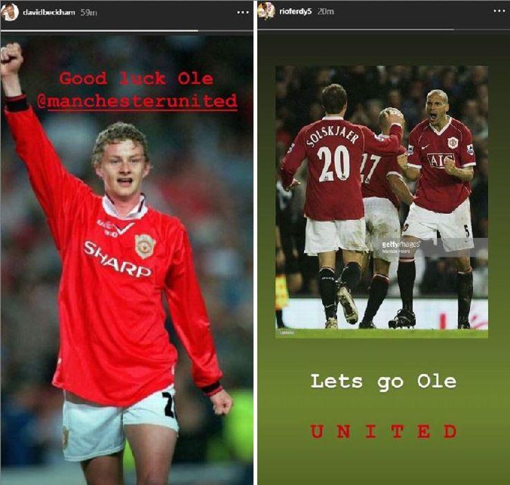 David Beckham and Rio Ferdinand congratulated Ole Gunnar Solskjaer