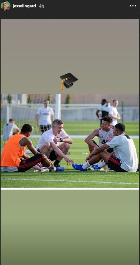 Jesse Lingard posted on his Instagram story about working under Ole Gunnar Solskjaer