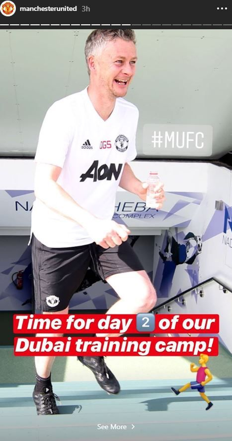 Ole Gunnar Solskjaer at Manchester United's training camp in Dubai