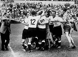Germany celebrate after they won the FIFA World Cup 1954 final match against Hungary.