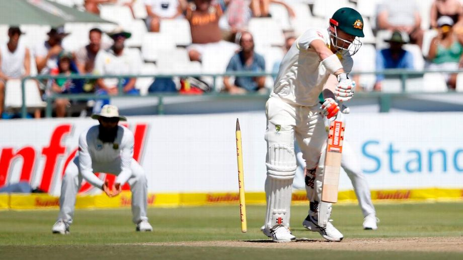 David Warner was involved in a heated exchange with a spectator as he walked off the ground after his dismissal by Kagiso Rabada on day two of the third Test in Cape Town