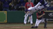 Crazy Somersault Flip After Home Plate Collision