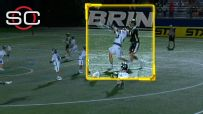 Lacrosse player drops opponent with an ugly shot to the neck