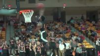 Campbell player takes pass from stands for one-handed jam