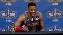 Westbrook has fun with reporters asking about Durant