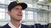 Harbaugh recognizes recruiting angle at Michigan pro day