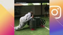 Harrison trains with 1,800-pound sled