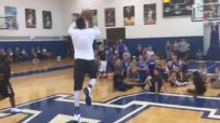 Towns hits half-court shot to win a camper shoes
