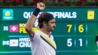 Federer fires ace by Chung to reach semis