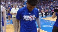 Frank Mason III dances and celebrates Kansas' 13th straight Big 12 title