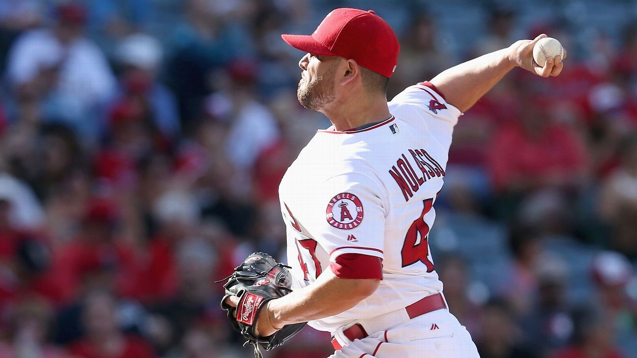 Angels' Nolasco takes comebacker to leg, exits