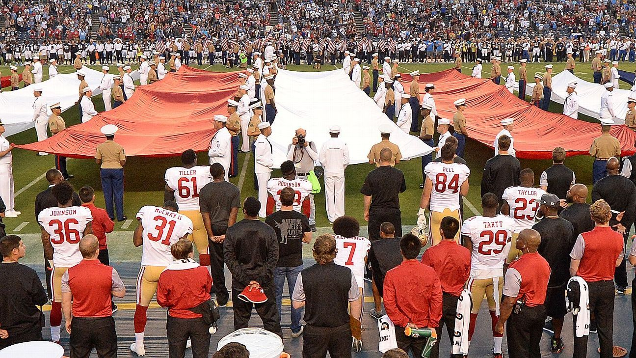 Colin Kaepernick Of San Francisco 49ers Sits Again During National Anthem
