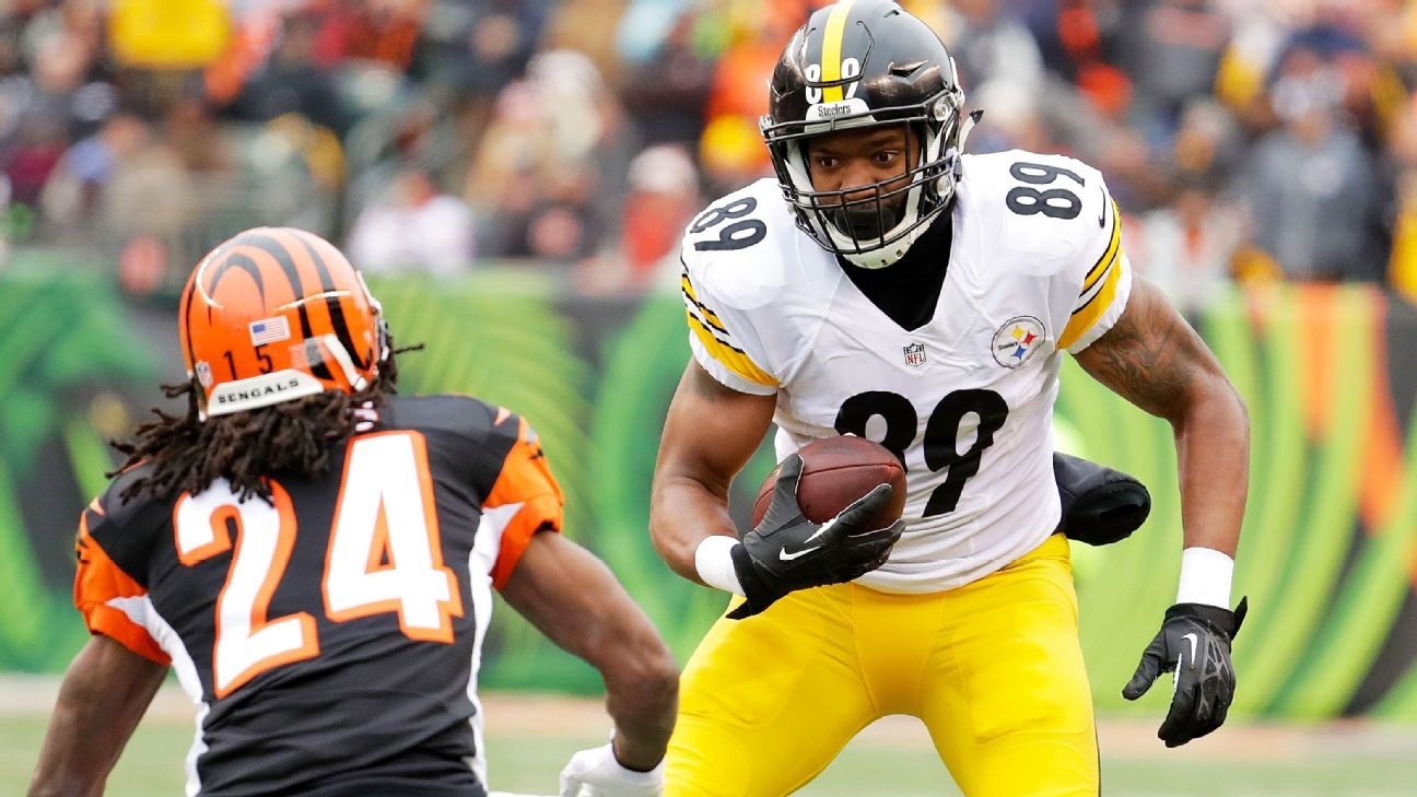 Tight end Ladarius Green of Pittsburgh Steelers doubtful against the Kansas City Chiefs with concussion