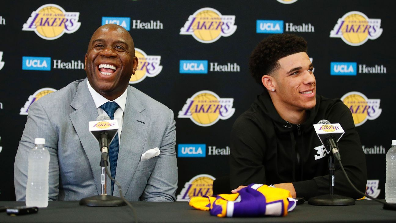 Magic introduces Lonzo as 'new face of Lakers'
